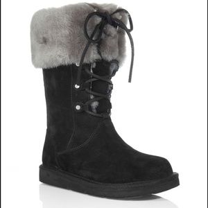 UGG Montclair Cuffed Shearling Boots Lace Up 6/37